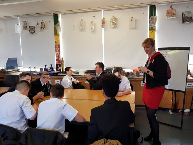 Aardvark Marketing Consultants | Gill Hutchinson with Woodrush year 10 students