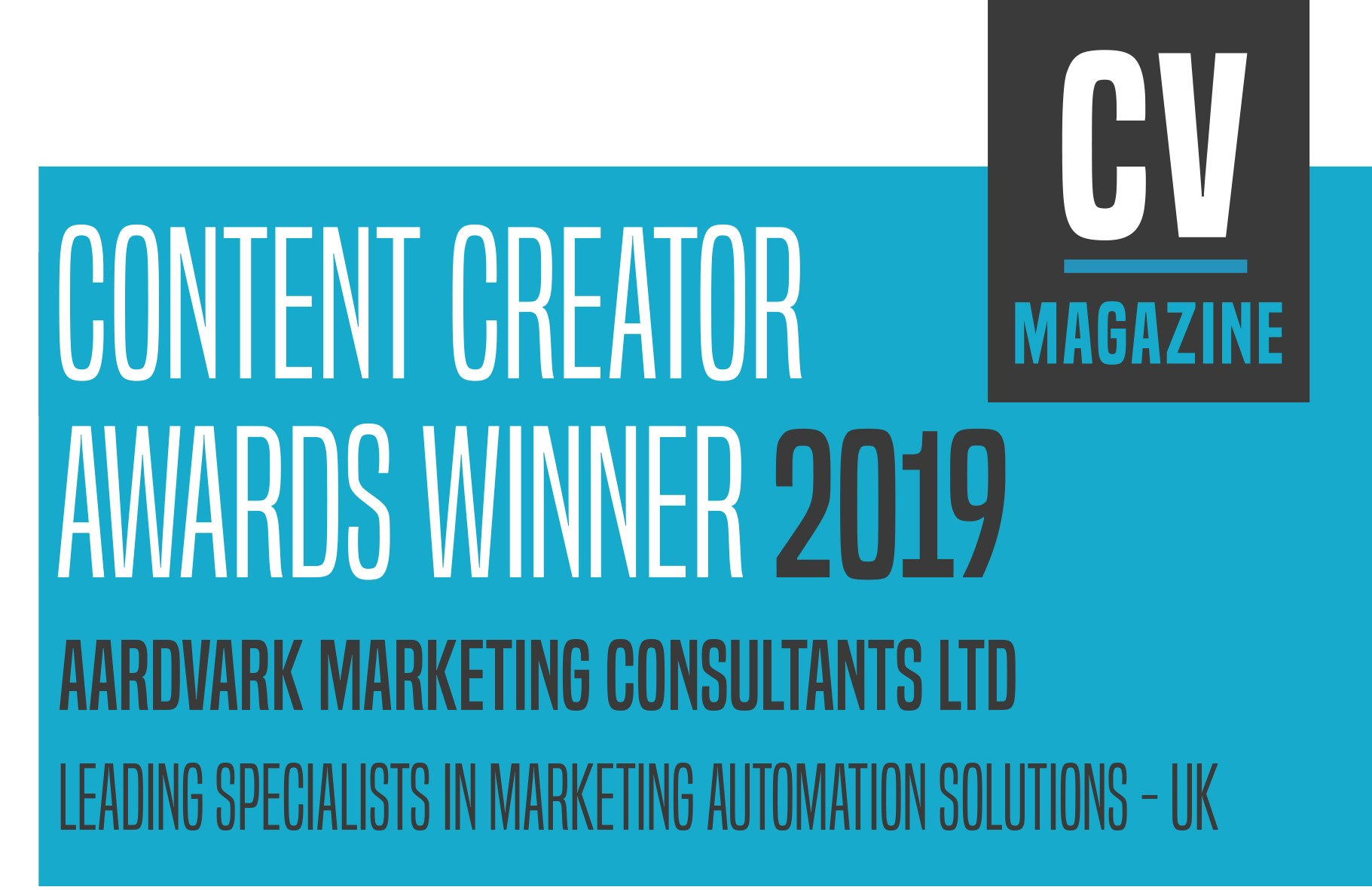 Aardvark Marketing Consultants | Content Creator award for marketing automation